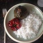 Keto gevulde paprika en courgette met konjac rijst