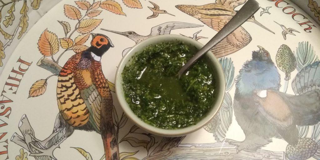 Kervel, platte peterselie en basilicum olie